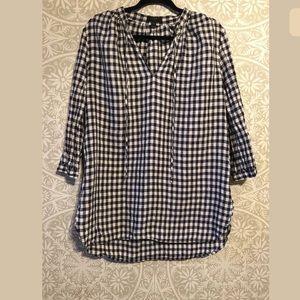 J Crew Linen Gingham Tunic Shirt Blouse